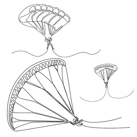 Continuous line set of Parachutist, skydivers, Vector parachut jumper