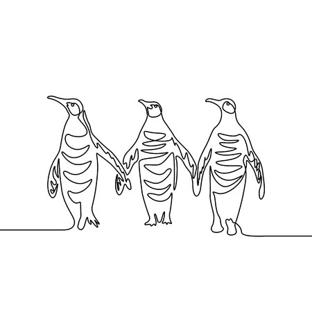 Continuous line drawing Three penguins. Group of penguins.