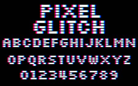 Glitch pixel font. Set of 8 bit style latin capital letters and numbers 向量圖像