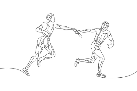 Continuous one line drawing relay race, runner passes the baton. Teamwork concept.