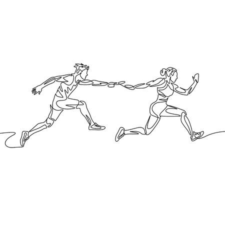 Carrera de relevos de dibujo continuo de una línea, el corredor pasa el testigo. Concepto de trabajo en equipo.