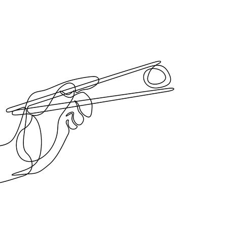 Una línea de mano sosteniendo palillos para comer sushi roll Ilustración de vector