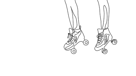 Continuous one line drawing couple legs in roller skate. Sport, recreation, friendship, relax, hobby theme. Illustration