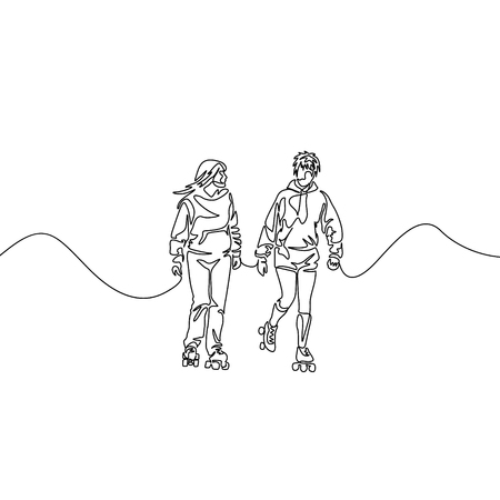 Continuous one line drawing friends rollerblading. Two girlfriends rollerblading. Sport, recreation, friendship, relax, hobby theme. Illustration