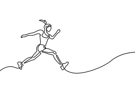 Continuous line drawing running woman , runner sport theme Illustration