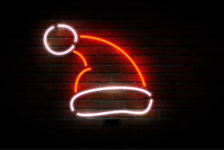Neon Santa Claus hat. Happy new Year theme. Vector illustration.