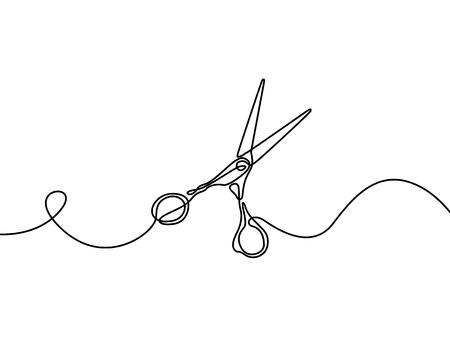 Forbici. Elemento di design per barbiere. Disegno a linee continue. Illustrazione vettoriale.