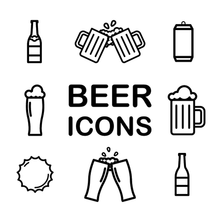 Set of Beer line icons. Alchohol, drink, pint, glass, bottle, can. Vector