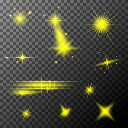 Set of yellow lens flares. Yellow sparkles shine special light effect. Vector lens flares on a transparent background. Illustration