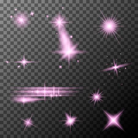 Set of pink lens flares. Pink sparkles shine special light effect. Vector lens flares on a transparent background. Vector Illustration