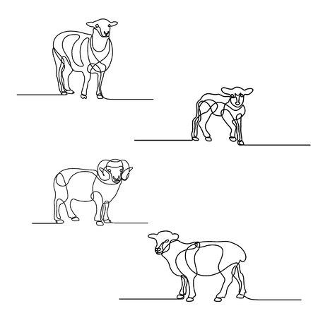 Ensemble de dessin au trait continu de moutons. Éléments de conception pour les fêtes islamiques. Illustration vectorielle.