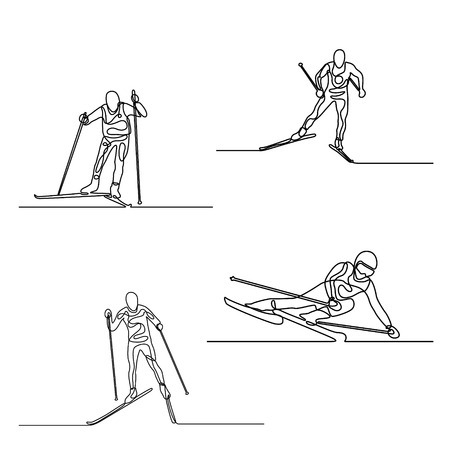 Continuous line set of Skiers. One line drawing. Vector.