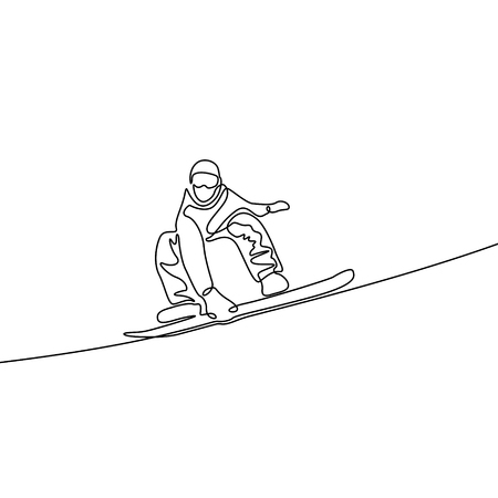 Continuous line snowboarder. Vector illustration