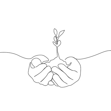 Continuous one line growing sprout in the hands of man, Eco concept Vetores
