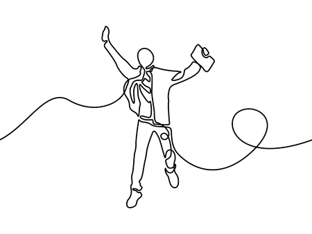 Continuous line student jumping for happy. Vector illustration.