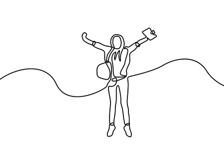 Continuous line happy student girl jumping. Vector illustration.