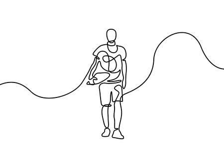 Continuous line boy go to school. First day of school. Vector illustration. Foto de archivo - 122483948