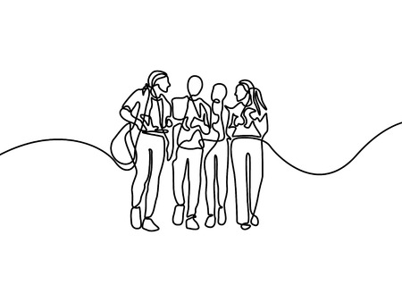Continuous line group of talking students. First day of college. Vector illustration.