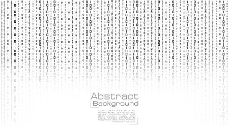 Vector de transmisión de código binario sobre fondo blanco. Diseño para pancartas, póster, papel tapiz, portada, sitio web, publicidad y diapositivas de presentación.
