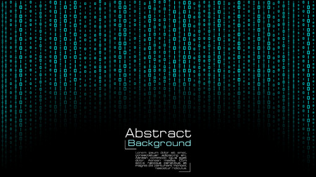 Vector streaming blue binary code on black background. Design for cover, poster, banners, wallpaper, website backgrounds, advertising and presentation slides.