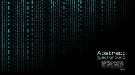 Vector streaming blue binary code on black background. Design for cover, poster, banners, wallpaper, website backgrounds, advertising and presentation slides Vektorové ilustrace