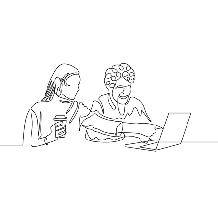 Continuous one line drawing couple have fun with laptop internet Illustration