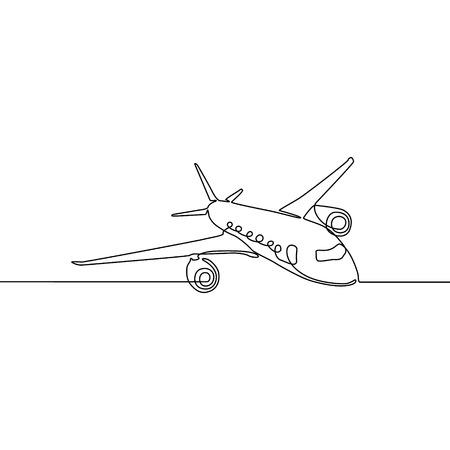 Avión de línea continua, viajes y turismo. Ilustración vectorial Ilustración de vector