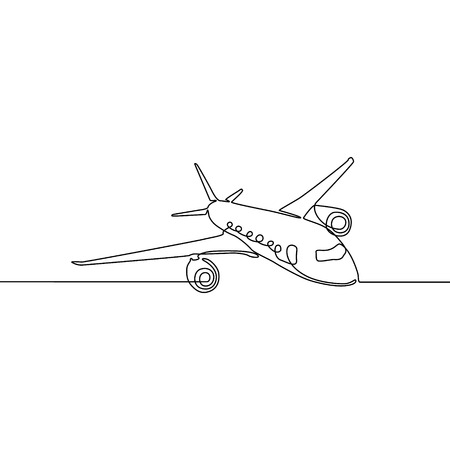 Continuous line airplane, Travel and tourism. Vector illustration Vector Illustration