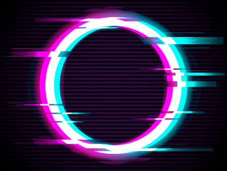 An illuminated circle with glitch effect. Glitched Circle Frame Design. Distorted Glitch Style Modern Background. Glow Design for Banner, Poster, Flyer, Brochure, Card. Glitch Vector illustration.
