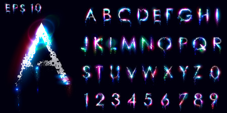 Crumbling and luminous font, English letters and numbers, Distorted symbols, Neon glow. Lens flares. Vector, EPS 10