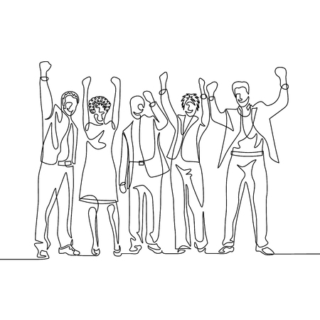 Continuous one line drawing happy team office workers celebrate success