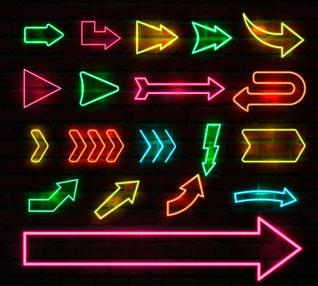 Colorful neon arrows and pointers set. Vector illustration.