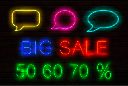 Set of neon signs with luminous for sales. Speech bubbles, title Big Sale and 50, 60, 70 per cent sale off. Neon elements for design banner, flyer, card and other advertising materials.Vector.