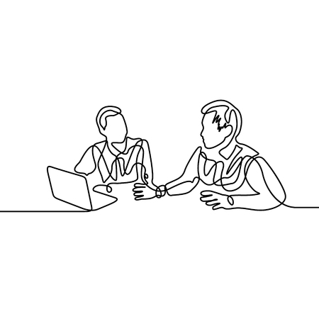 Continuous one line co-workers discussing work in front of a laptop