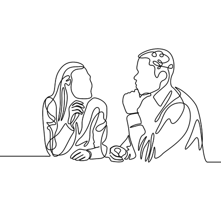 Continuous one line co-workers ponder work. Vector illustration.