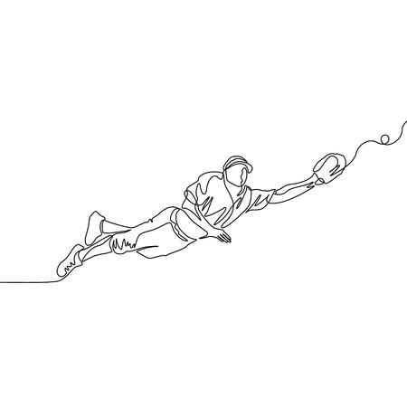 El jugador de béisbol de una línea continua salta para atrapar la pelota