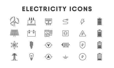 Jeu d'icônes de ligne d'électricité. Vecteur