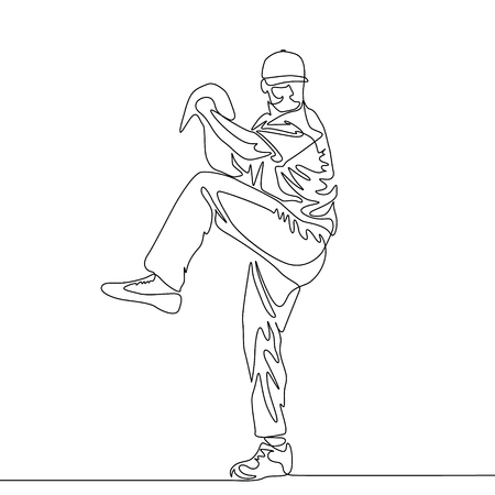 Continuous one line baseball player pitcher going to throw the ball 向量圖像
