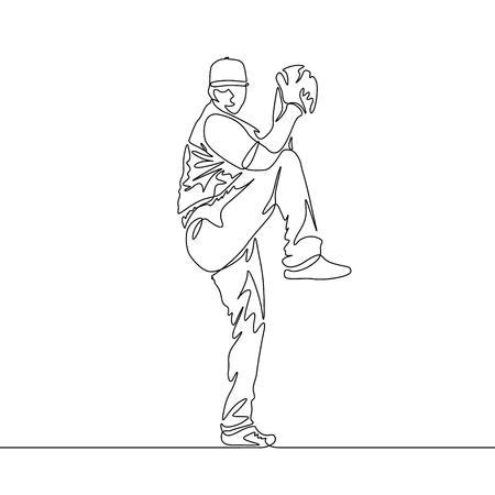 Continuous line pitcher going to throw the ball Ilustración de vector
