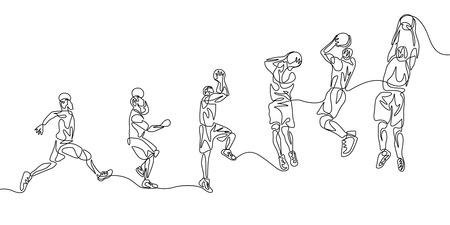 Jugador de baloncesto de una línea continua paso a paso haciendo slam dunk