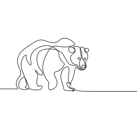 Continuous line going bear. Vector illustration.