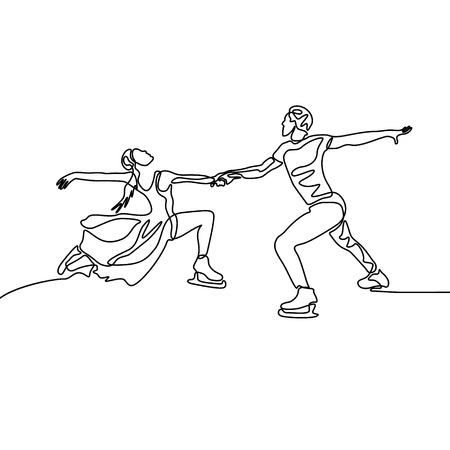 Continuous line passionate couple of figure skaters Ilustracje wektorowe