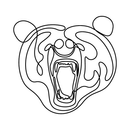 Continuous line fury bear head, snarling bear. Vector illustration.