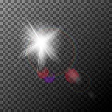 Realistisches Lens Flare mit Highlights. Lichteffekt. Weißer Sparkle Glanz besonderer Lichteffekt. Vektor-Linsenfleck auf einem transparenten Hintergrund.