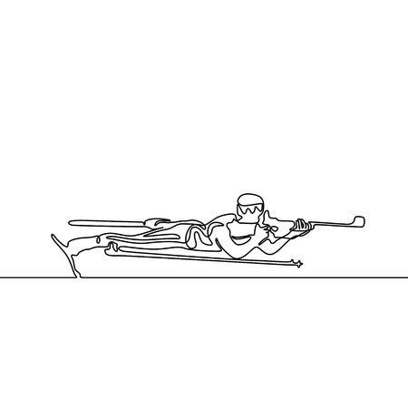 Continuous line Lying down biathlete aims. Vector illustration.