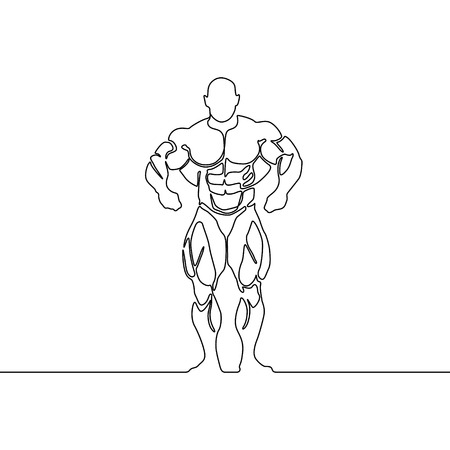 Continuous line bodybuilder. Vector illustration. Ilustrace