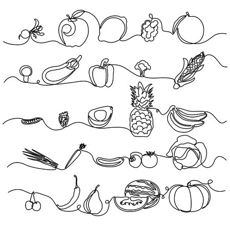 Continuous line Fruits and Vegetables. Design element for grocery store, vegetable shop. Vector illustration.