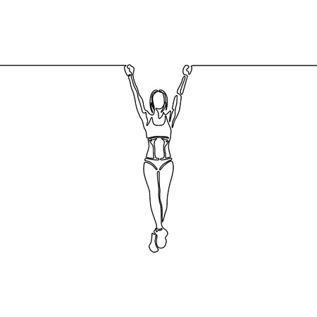 Continuous line woman with fit body hanging on the horizontal bar. Vector illustration. Illustration