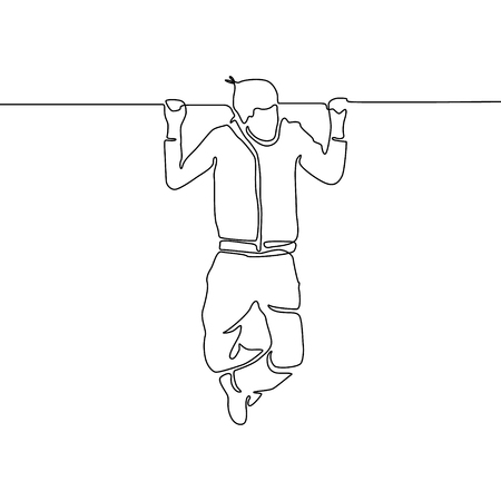 Continuous line man hanging on the horizontal bar. Vector illustration.