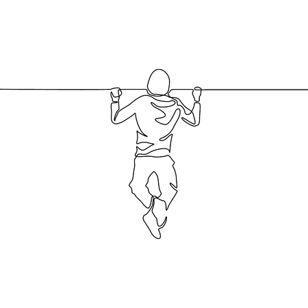 Continuous one line man pulls himself up on the horizontal bar. Vector illustration. Çizim